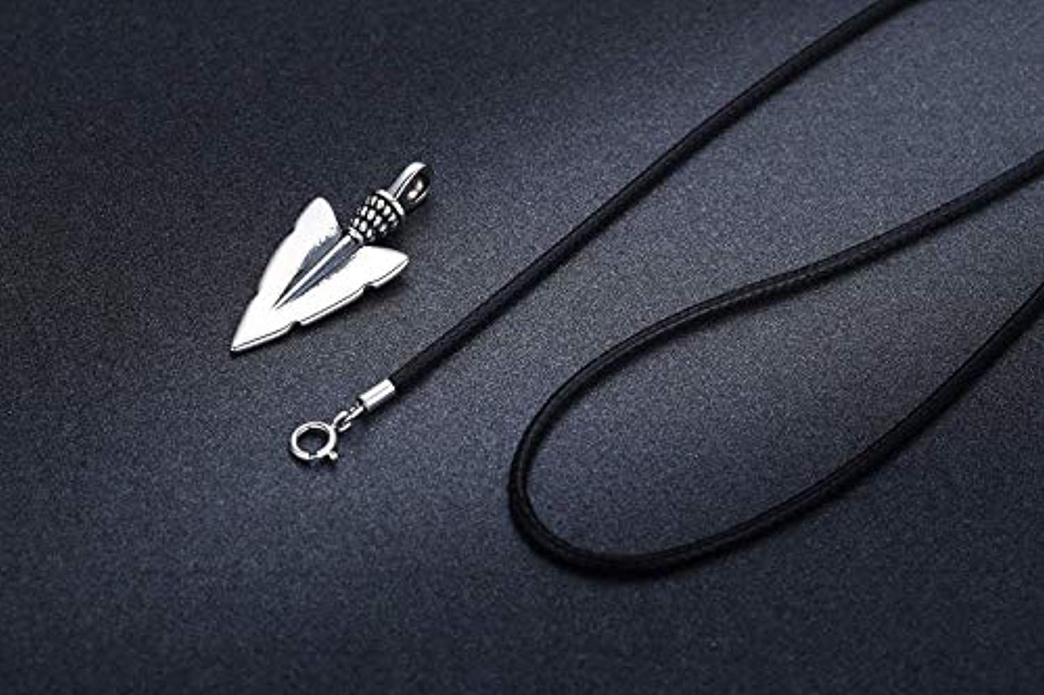 925 Sterling Silver Viking Arrowhead Arrow Pendant Necklace for Men, Viking Jewelry for Mens