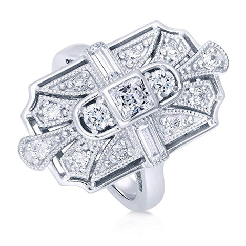 Rhodium Plated Sterling Silver Cubic Zirconia CZ Statement Art Deco Milgrain Cocktail Fashion Right Hand Ring