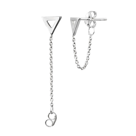 925 Sterling Silver Simple Small Minimalist Triangle  w/Chain Jacket Stud Earring