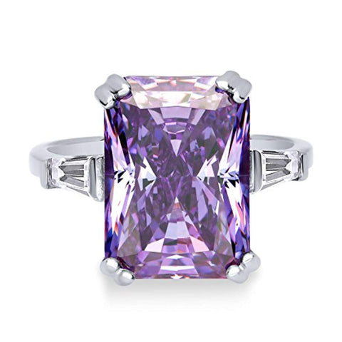 Rhodium Plated Sterling Silver Purple Radiant Cut Cubic Zirconia CZ Statement 3-Stone Cocktail Anniversary Fashion Right Hand Ring