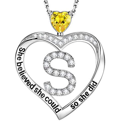November Birthstone Yellow Citrine Necklace for Women Teen Girls Initial S Love Heart Pendant Inspirational She Believed She Could So She Did Sterling Silver Jewelry Birthday Gifts Annivesary Gifts