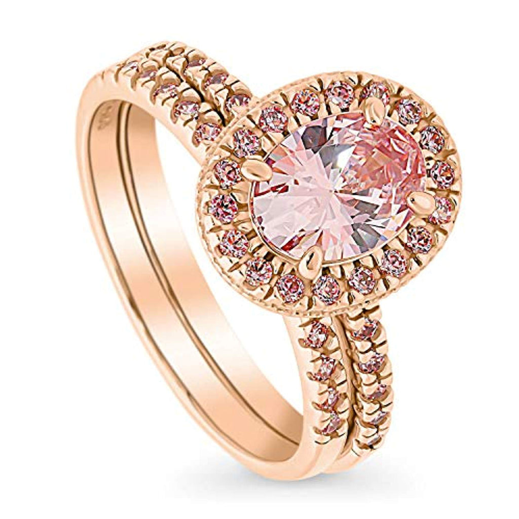 Rhodium and Rose Gold Plated Sterling Silver Halo Engagement Wedding Ring Set Made with Swarovski Zirconia Morganite Color Oval Cut