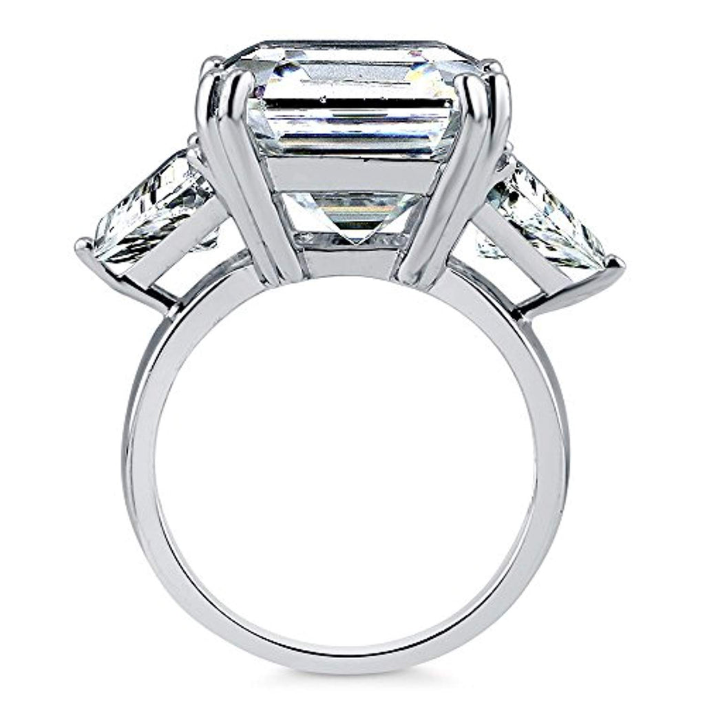 Rhodium Plated Sterling Silver Asscher Cut Cubic Zirconia CZ Statement 3-Stone Anniversary Engagement Ring