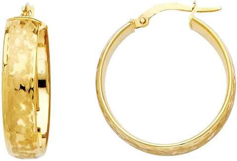 14k Yellow Or Two Tone White & Yellow Gold Earrings Snow Cut Hollow Hoop