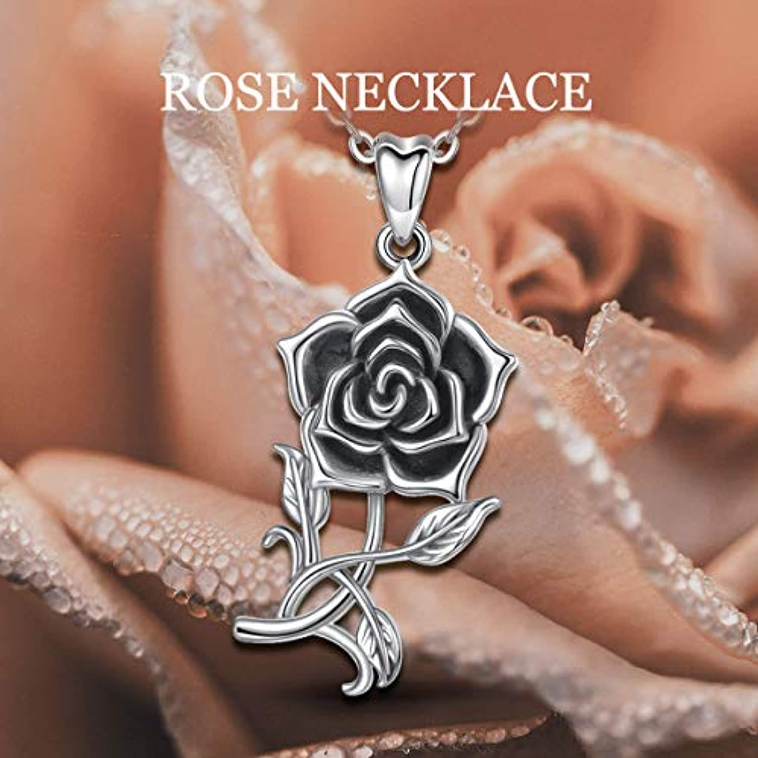 Sterling Silver Rose Necklace for Women Vintage  Flower Pendant Necklaces Hoilday Gifts for Her