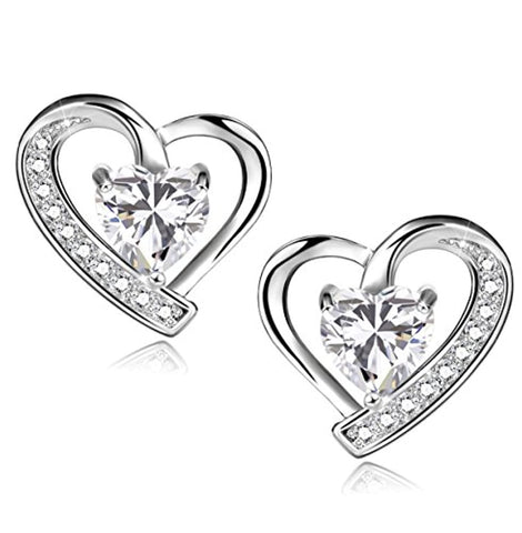 Silver Earrings Blue Cubic Zirconia Heart Shaped Stud Earrings