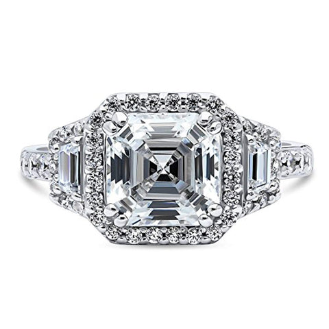Rhodium Plated Sterling Silver Asscher Cut Cubic Zirconia CZ Halo Art Deco Engagement Ring