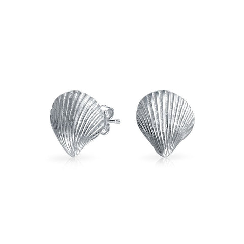 Nautical Tropical Beach Cockle Seashell Stud Earrings For Women Sea Life Silver 925 Sterling Silver