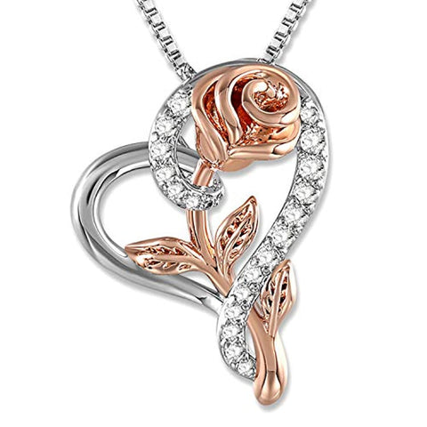 Silver Rose Flower Cubic Zirconia Love Heart Pendant Necklace