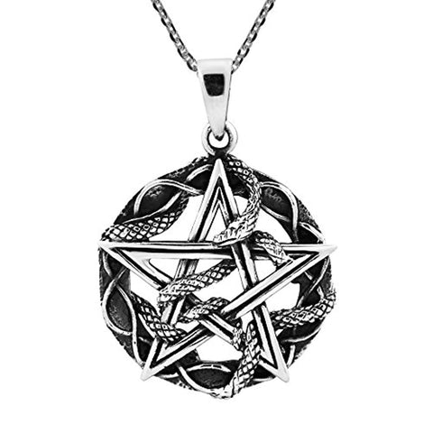 Silver Entwined Snake Star Pentagram Necklace