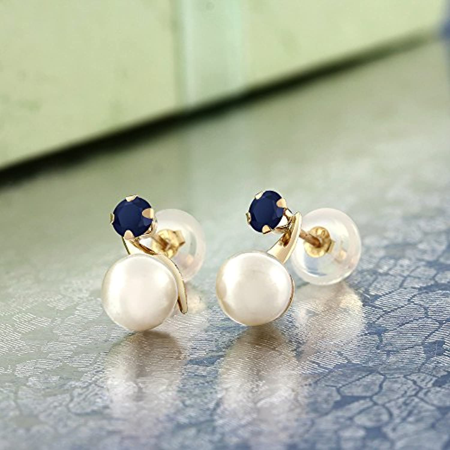 14K Gold  Sapphire & Cultured Freshwater Pearl Stud Earrings