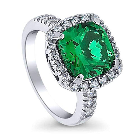 Rhodium Plated Sterling Silver Cushion Cut Green Cubic Zirconia CZ Halo Cocktail Ring