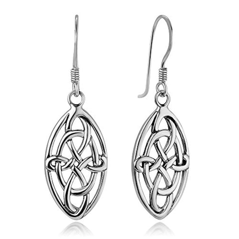 Celtic Knot Knotwork Symbol Marquise Shaped Dangle Hook Earrings