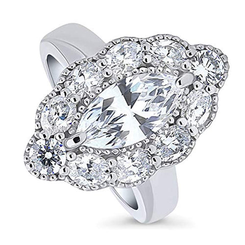 Rhodium Plated Sterling Silver Marquise Cut Cubic Zirconia CZ Statement Art Deco Halo Milgrain Cocktail Fashion Right Hand Ring