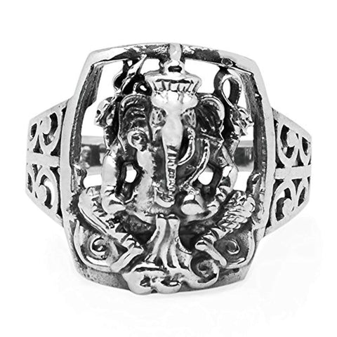 925 Sterling Silver Hindu Lord Ganesh Ganesha Elephant Hindu God of Fortune Filigree Band Ring