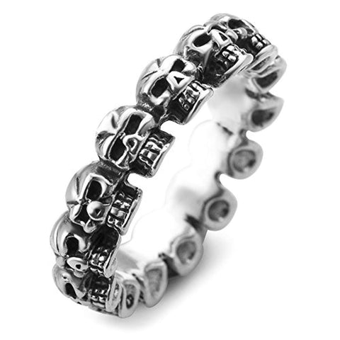 925 Sterling Silver Vintage Gothic Multi Skull Head Band Ring