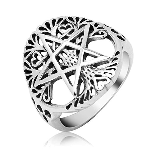 Sterling Silver Filigree Pentagram Pentacle Star Ancient Tree of life Symbol Round Band Ring