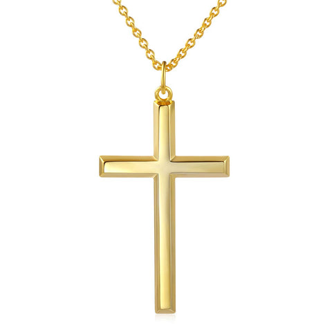 18k Gold Plated 925 Sterling Silver Cross Pendant Necklace With 18inch Cable Chain