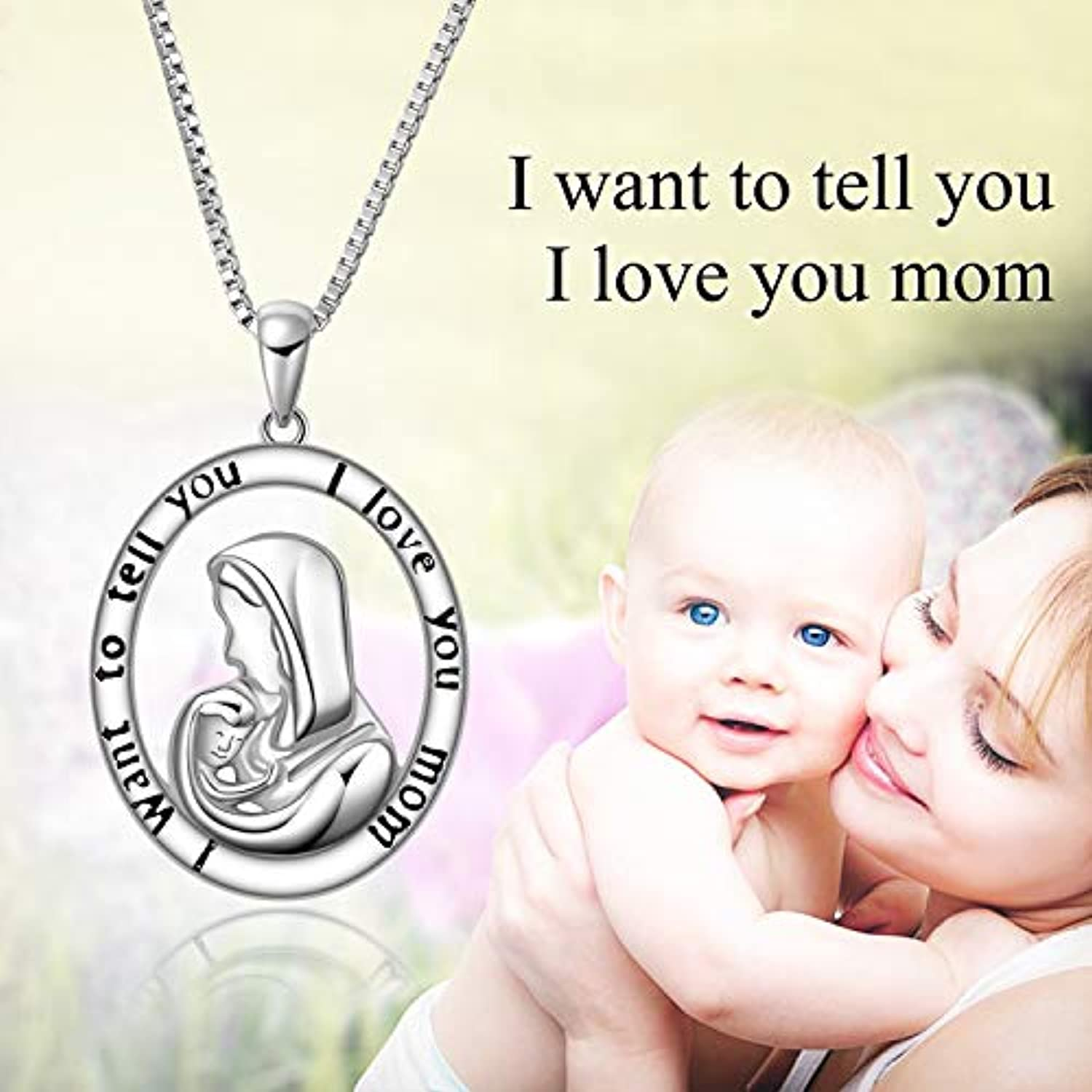 Angel caller Mother Daughter Jewelry Necklace Sterling Silver Love Heart Mother and Child Jewelry for Women Girls