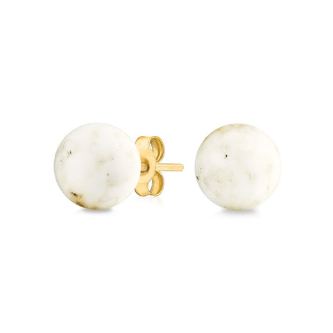 Simple Gemstone Ball Stud Earrings For Women For Teen 14K Real Yellow Gold