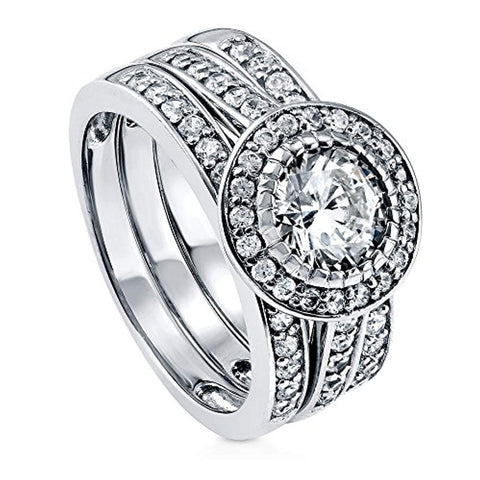 Rhodium Plated Sterling Silver Round Cubic Zirconia CZ Statement Halo Engagement Wedding Ring Set