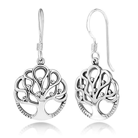 925 Sterling Silver Ancient Tree of Life Symbol Cut Open Round Dangle  Earrings