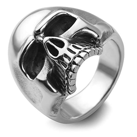 Sterling Silver Vintage Gothic Skull Head Band Ring