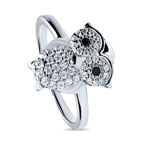 Rhodium Plated Sterling Silver Cubic Zirconia CZ Owl Fashion Right Hand Ring - Halloween Jewelry