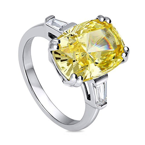 Rhodium Plated Sterling Silver Canary Yellow Cushion Cut Cubic Zirconia CZ Statement 3-Stone Cocktail Anniversary Fashion Right Hand Ring