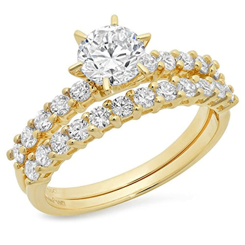 14k Yellow Gold Round Cut Pave  Bridal Engagement Wedding Ring & Band Set For Ladies