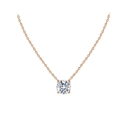 Dainty Cubic Zirconia Necklace Sterling Silver Solitaire Pendant Necklace for Women