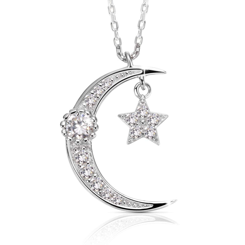 14K White Gold Plated S925 Sterling Silver Black Cubic Zirconia CZ Moon Stars Pendant Necklace Fine Jewelry