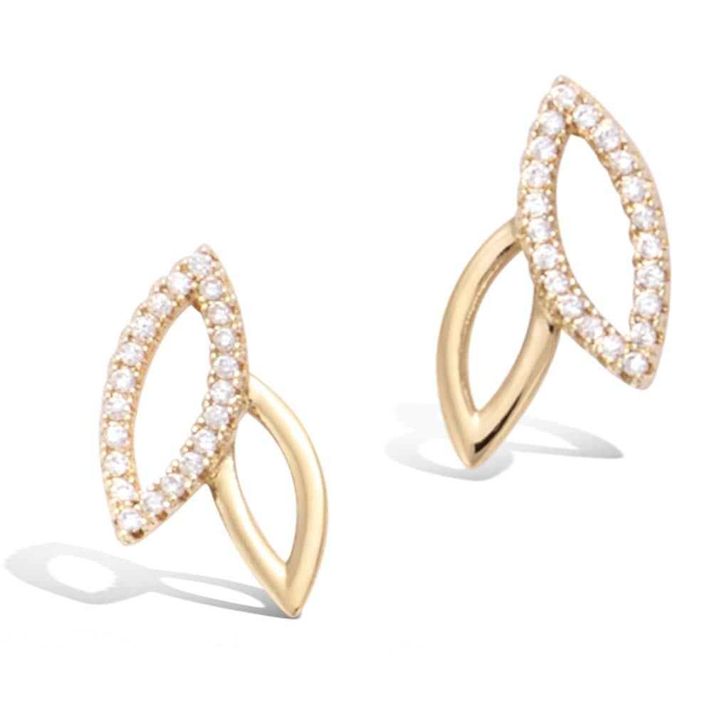 Yellow Gold plated  Leaf Olive Branch Feather Cubic Zirconia CZ Stud Earrings Fashion Jewelry