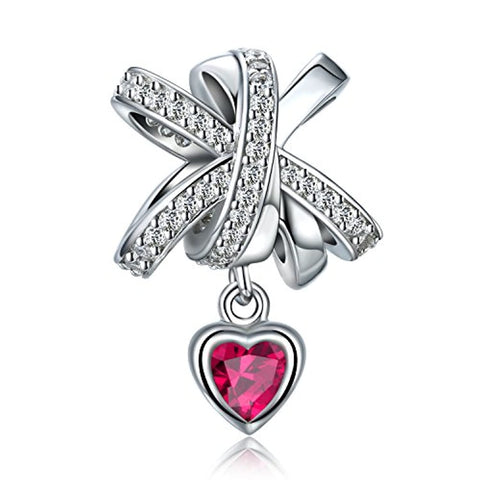 Silver Ribbon Bow Danlge Charm with CZ Heart Charm