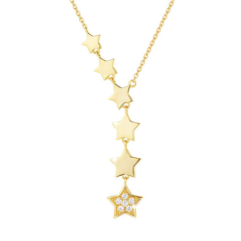 Sterling Silver Star Choker Necklace 14K Gold Plated Cubic Zirconia CZ Dainty Necklace Fine Jewelry