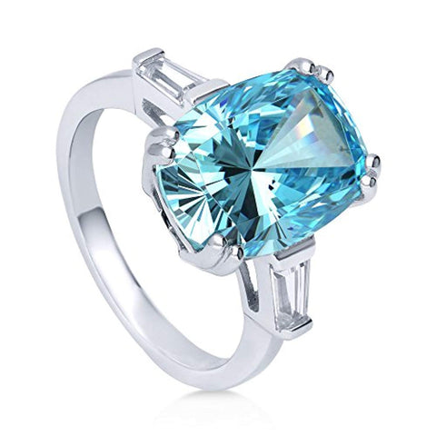 Rhodium Plated Sterling Silver Blue Cushion Cut Cubic Zirconia CZ Statement 3-Stone Cocktail Anniversary Fashion Right Hand Ring