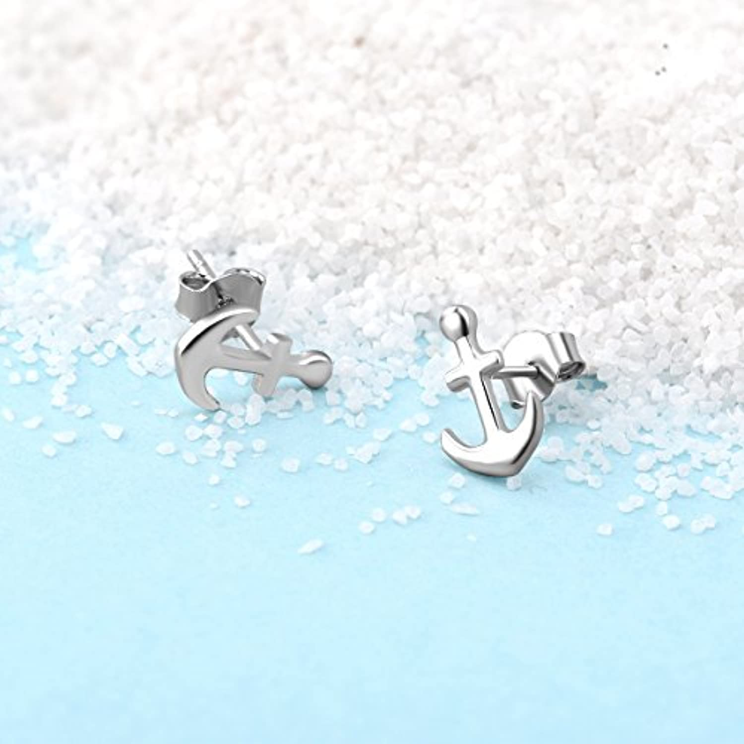 Anchor Earrings Sterling Silver Small Minimalist Hypoallergenic Nautical Stud Earrings for Women Birthday Gift