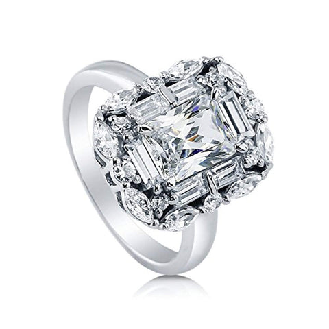 Rhodium Plated Sterling Silver Radiant Cut Cubic Zirconia CZ Statement Art Deco Halo Engagement Ring