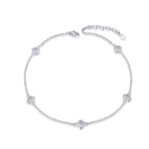 925 Sterling Silver Ankle Bracelets Flower Adjustable Anklet Jewelry Foot Chain for Women Girls