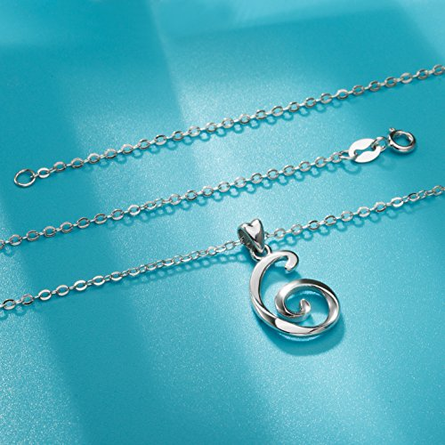 925 Sterling Silver Necklace 26 Letters Alphabet G Charm Pendant Necklace