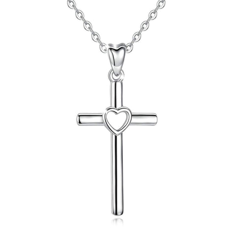 S925 Sterling Silver Cross&heart Necklace Pendant for Women