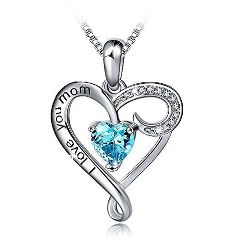 Classic Mother's Birthday Gift 925 Sterling SilverI Love You Mom Heart Pendant Necklace