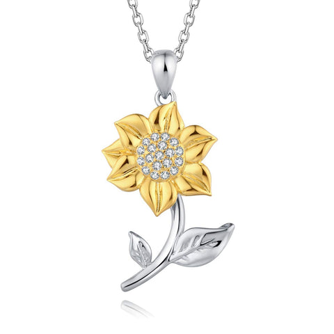 S925 Sterling Silver Sunflower with CZ Warmth Positivity Pendant Necklace