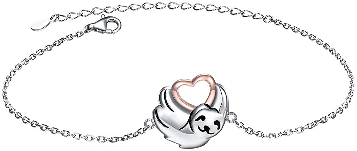 925 Sterling Silver Cute Animal Sloth Heart Bracelet Gift for Women Teen Girls
