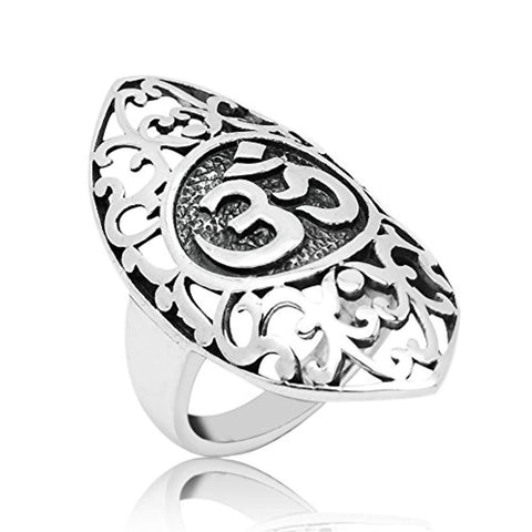 925 Oxidized Sterling Silver Open Filigree Aum Om Ohm Sanskrit Symbol Large Wrap Band Ring 6,7,8
