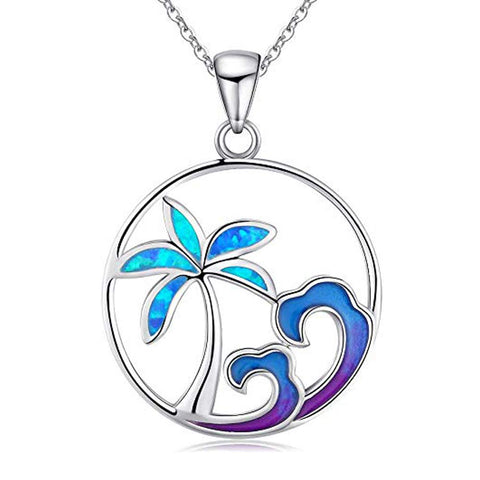 Opal Coconut Tree Necklace Beachy Beach Necklaces with 925 Sterling Silver Necklace for Women