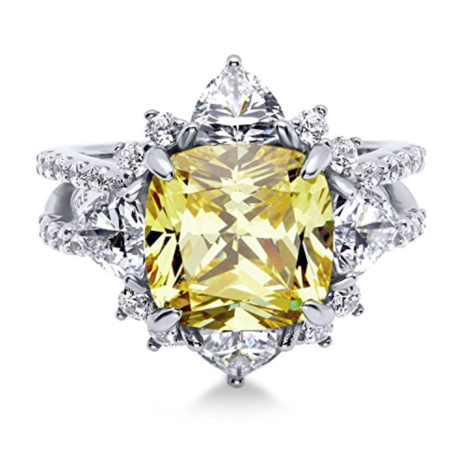 Rhodium Plated Sterling Silver Canary Yellow Cushion Cut Cubic Zirconia CZ Statement Halo Flower Cocktail Fashion Right Hand Split Shank Ring