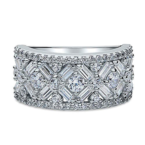 Rhodium Plated Sterling Silver Cubic Zirconia CZ Statement Art Deco Bar Cocktail Fashion Right Hand Ring