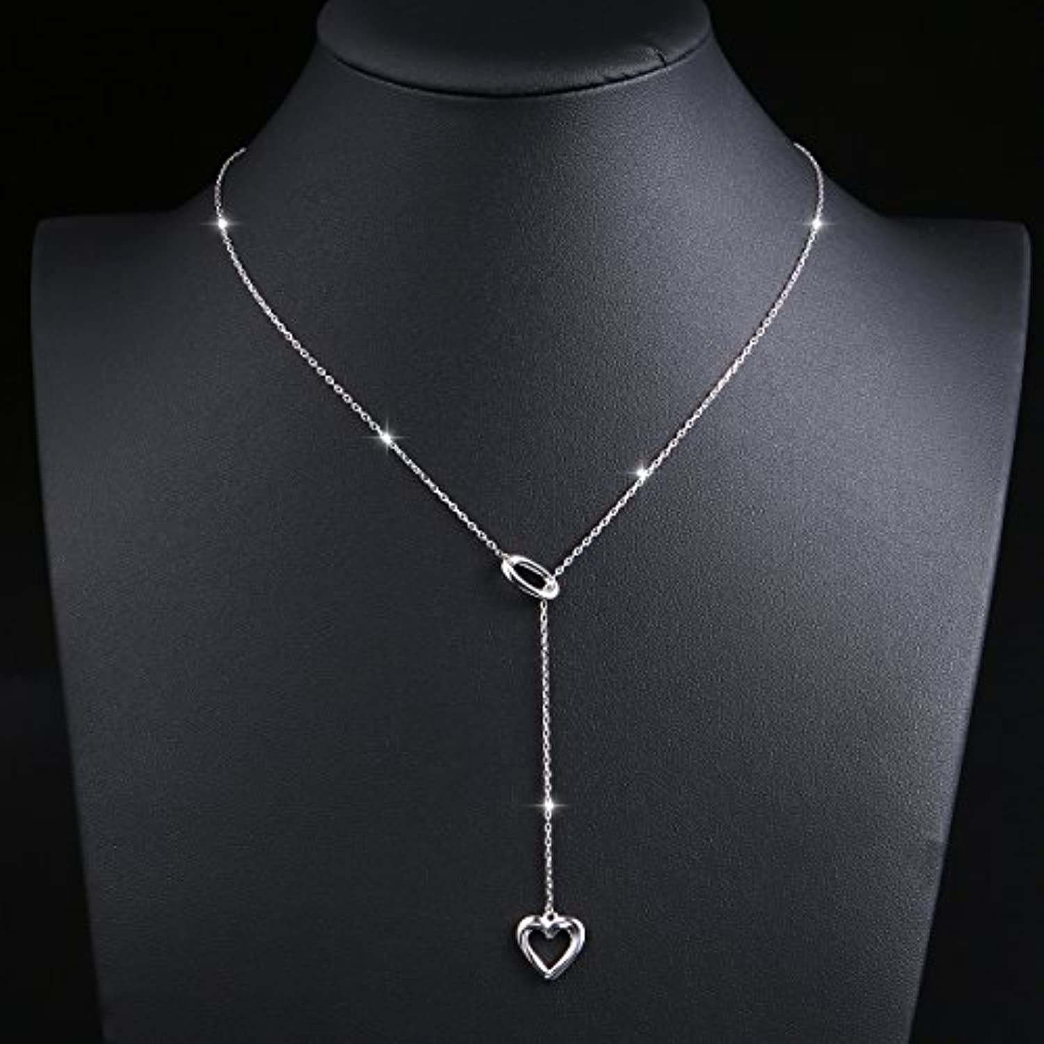 Long Necklace 925 Sterling Silver Adjustable Y Shaped Lariat Chain Necklace for Women