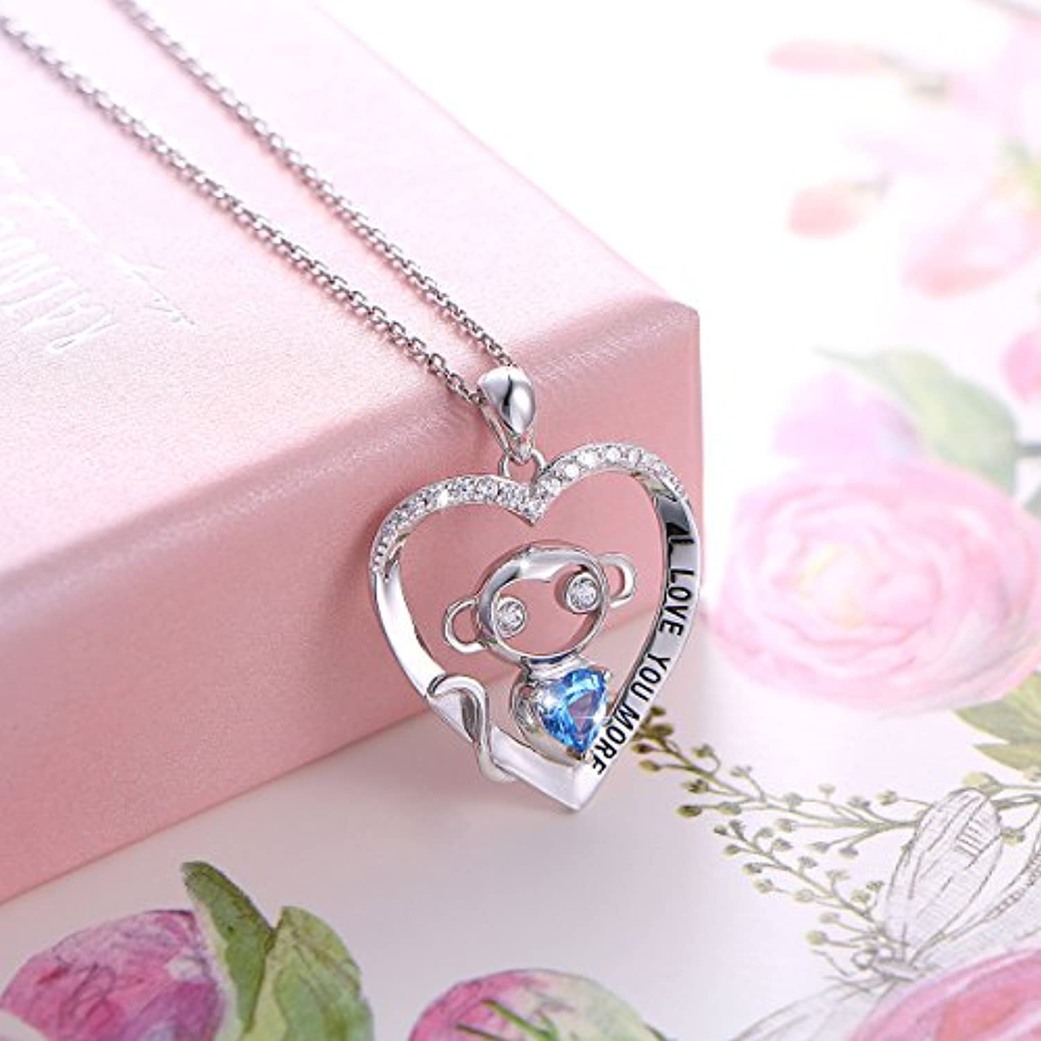 925 Sterling Silver I Love You More Engraved Cute Animal Monkey in Heart Pendant Necklace for Women Girls Birthday Gift